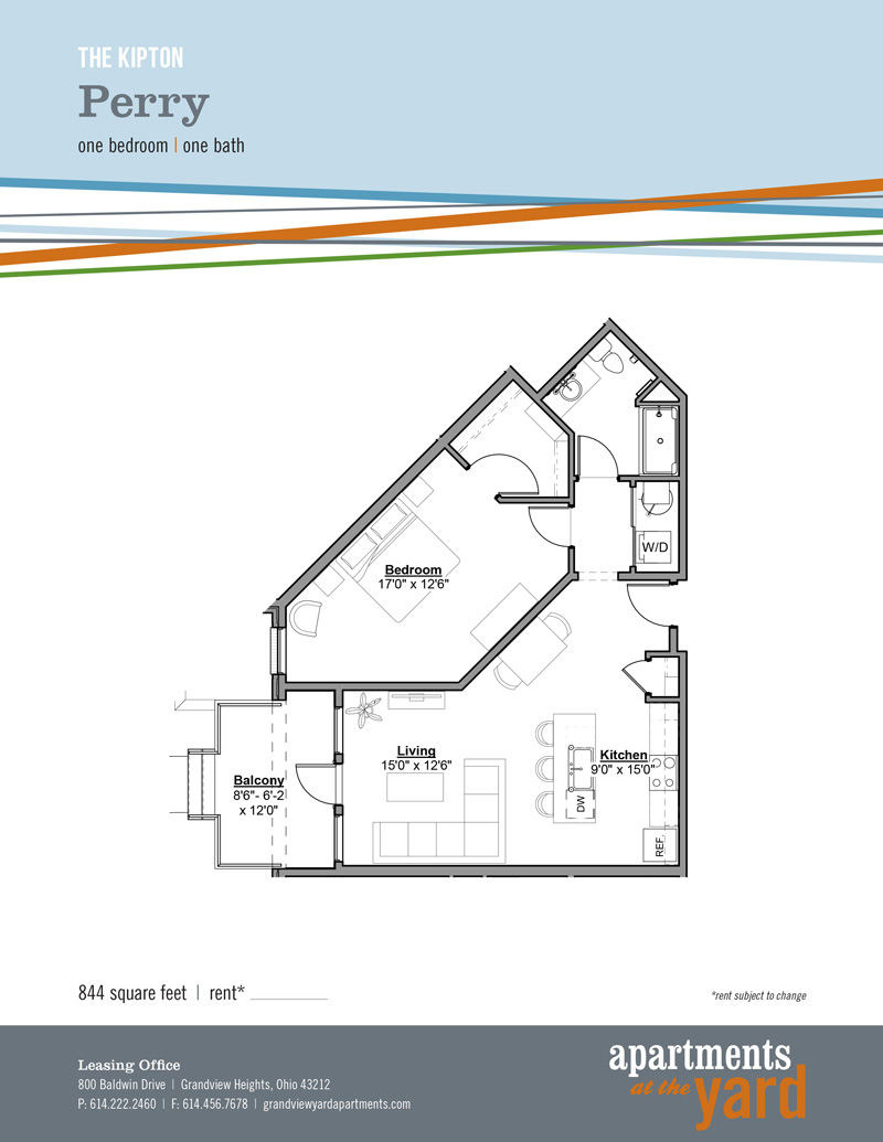 grandview apartments at the yard perry floorplan one bedroom