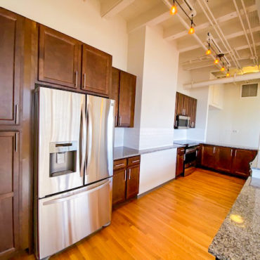kitchen in The Julian two bedroom apartment downtown Columbus