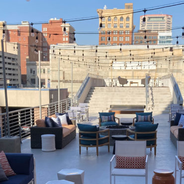 View from elevated courtyard at 150 North Third Apartments