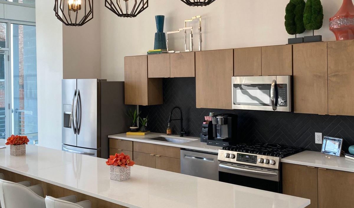 Kitchen at 150 North Third Apartments