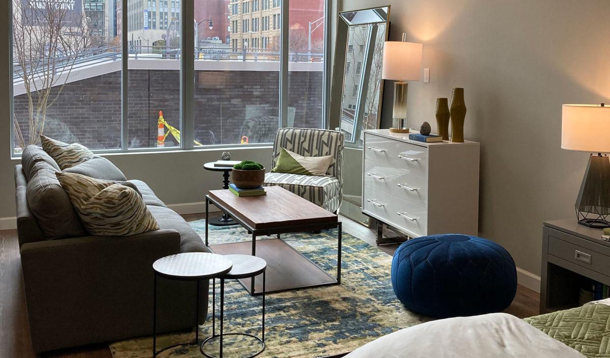 Living Room at 150 North Third Apartments