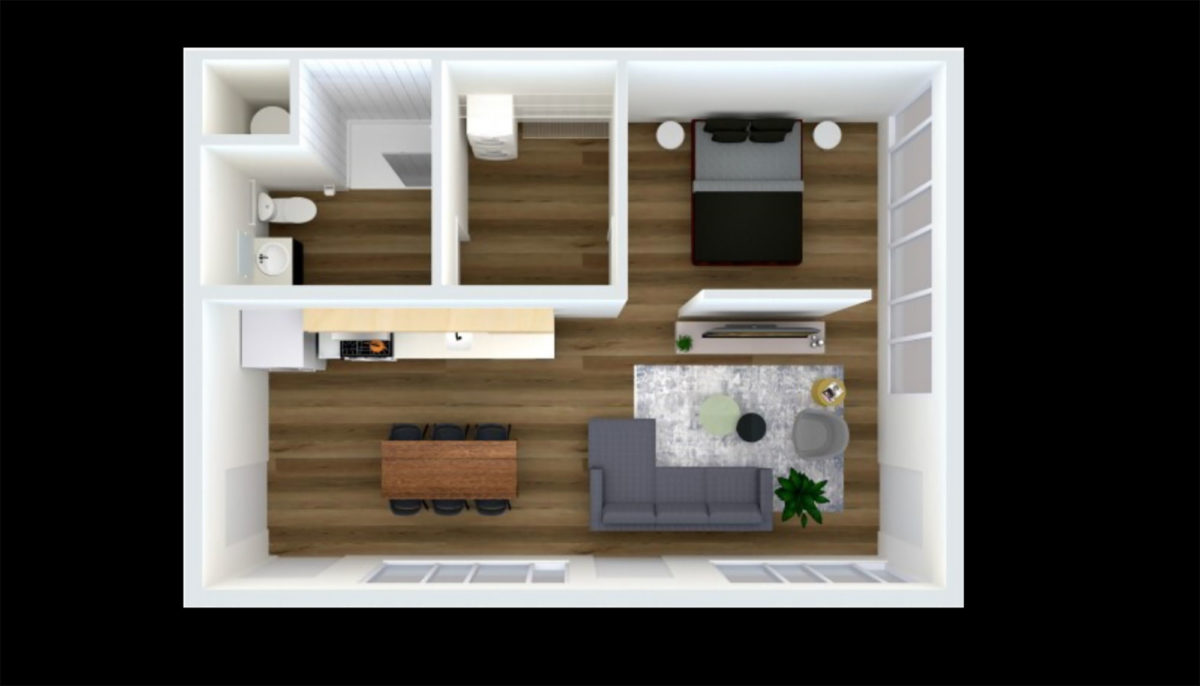 One Bedroom Floorplan at 150 North Third Apartments